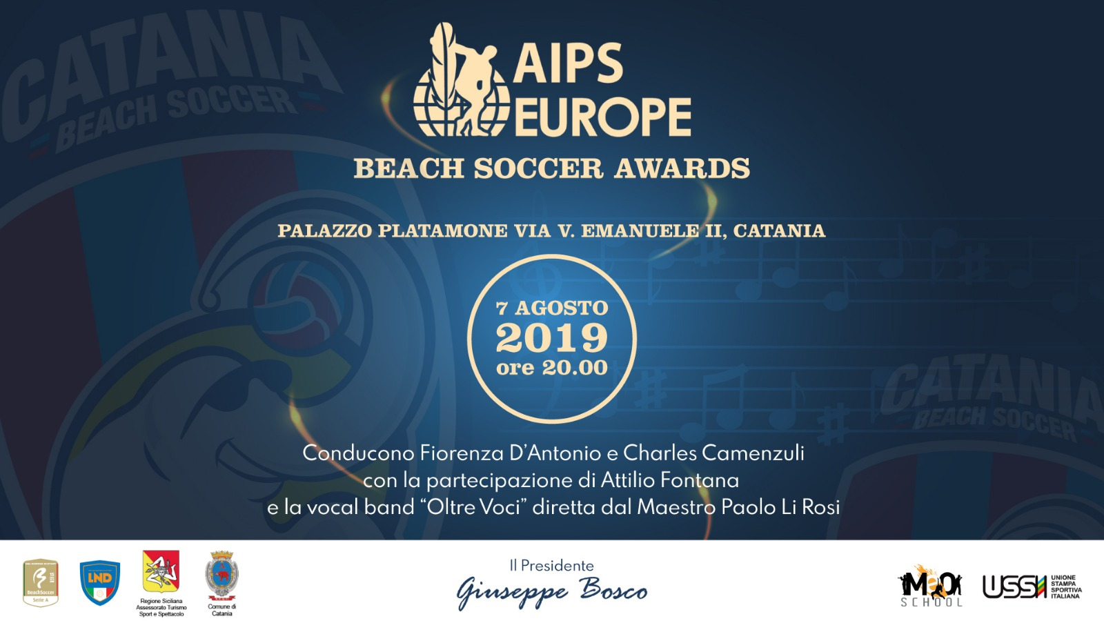 QUESTA SERA AL CORTILE PLATAMONE AIPS BEACH SOCCER AWARDS 2019